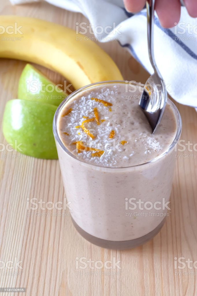 Healthy organic date, banana and apple milk smoothie powdered...
