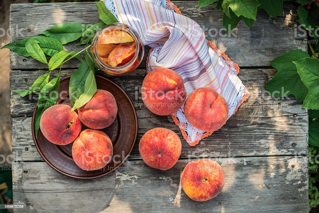 Healthy organic food, healthy fruits peaches. Ripe and tasty and stock photo