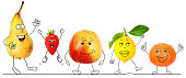 Healthy organic fruits 2, illustrated figurines