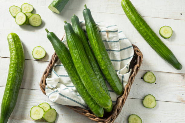 Healthy Organic Green English Cucumbers Healthy Organic Green English Cucumbers Ready to Eat Anglo American stock pictures, royalty-free photos & images