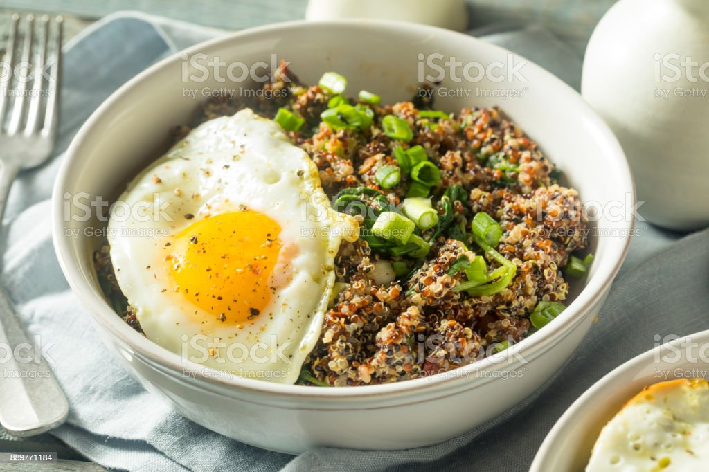 Healthy Organic Quinoa Breakfast Bowl stock photo