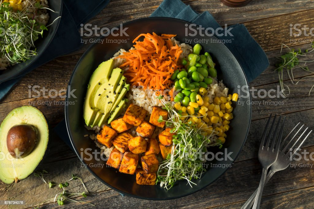 Healthy Organic Tofu and Rice Buddha Bowl stock photo