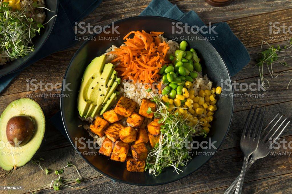Tofu orgânico saudável e tigela de arroz Buda - foto de acervo