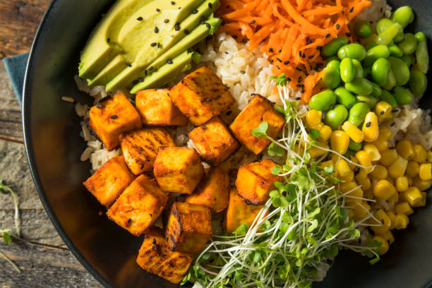 Healthy Organic Tofu and Rice Buddha Bowl stock photo