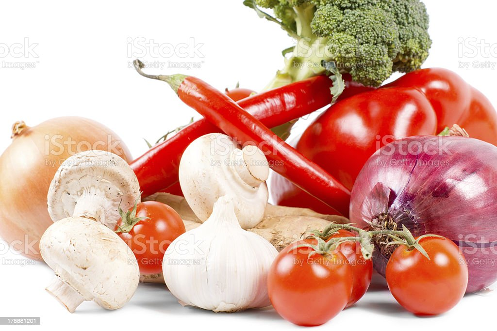 Healthy organic vegetables on white background royalty-free stock photo
