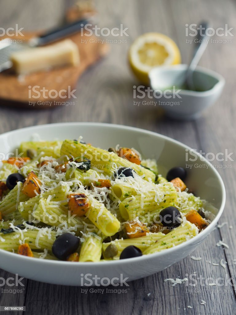 Healthy Pasta salad with roasted butternuts squash royalty-free stock photo