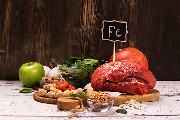Healthy product rich of iron Healthy product rich of iron. Natural sources of ferrum. Selective focus anemia stock pictures, royalty-free photos & images