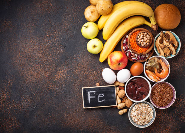 Healthy product sources of iron Healthy product sources of iron. Food rich in Fe (ferrum) anemia stock pictures, royalty-free photos & images
