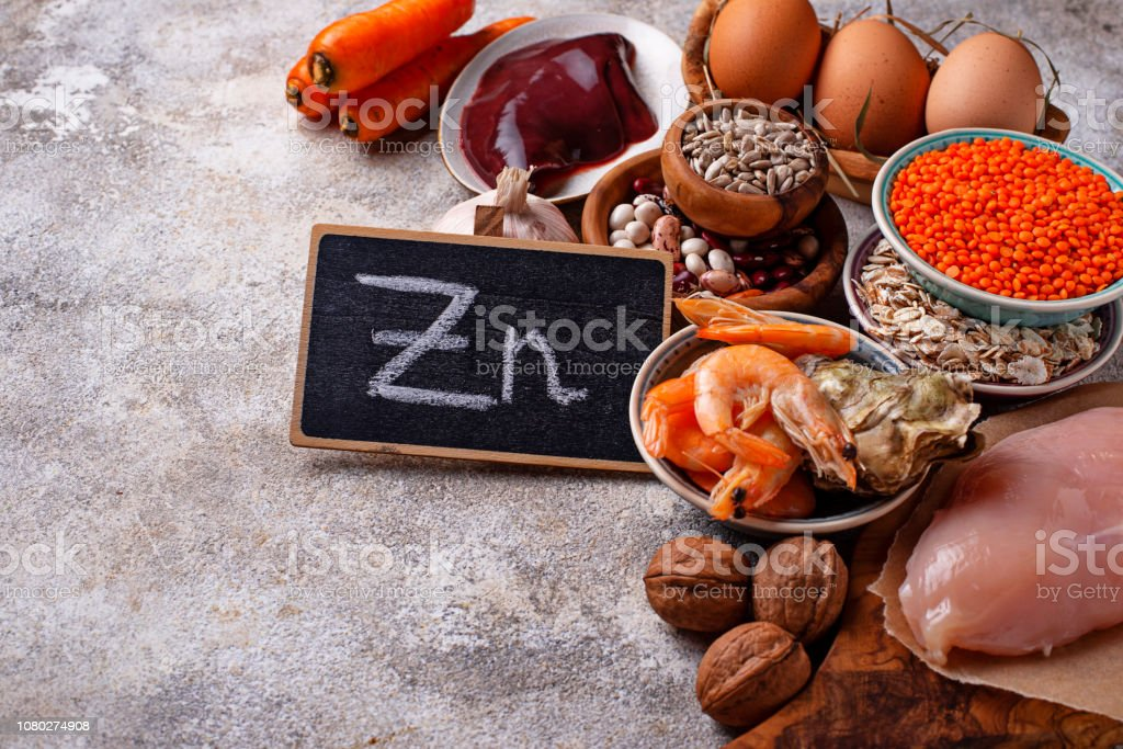 Healthy product sources of zinc. - Zbiór zdjęć royalty-free (Anemia)