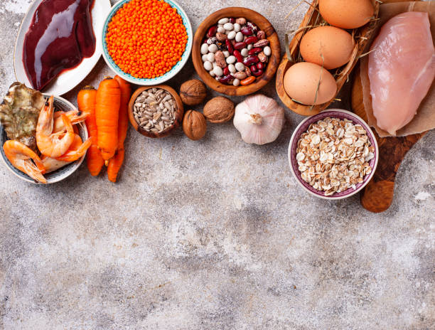 Healthy product sources of zinc. Healthy product sources of zinc. Food rich in Zn anemia stock pictures, royalty-free photos & images