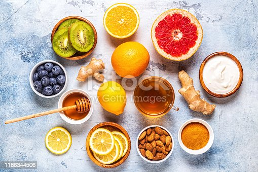 istock Healthy products for Immunity boosting and cold remedies 1186344506