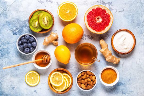 produtos saudáveis para o aumento da imunidade e remédios frios - condição natural - fotografias e filmes do acervo
