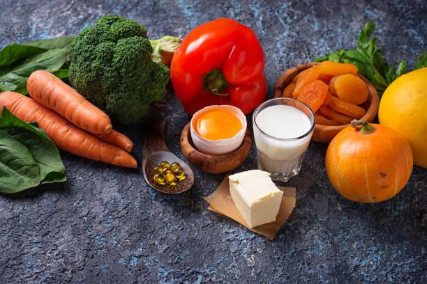 productos saludables ricos en vitamina a - vitamina a fotografías e imágenes de stock