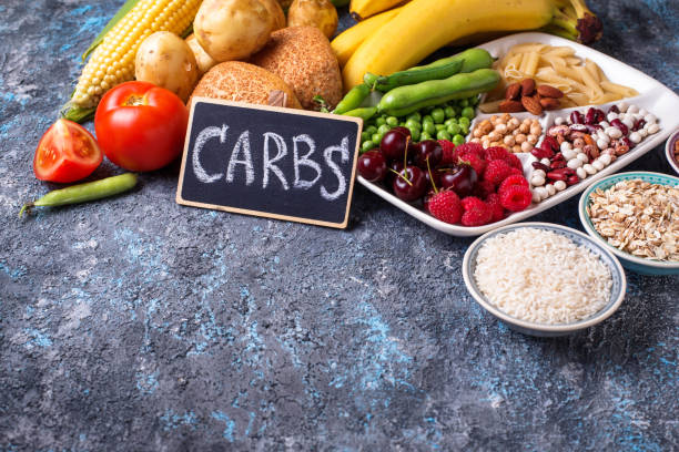 healthy products sources of carbohydrates. - carbohydrates stock photos and pictures