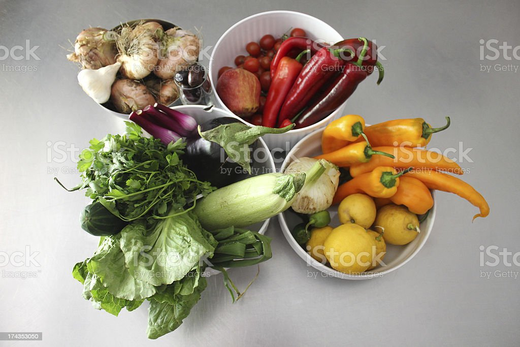 Healthy Rainbow of Fruits and Vegetables stock photo