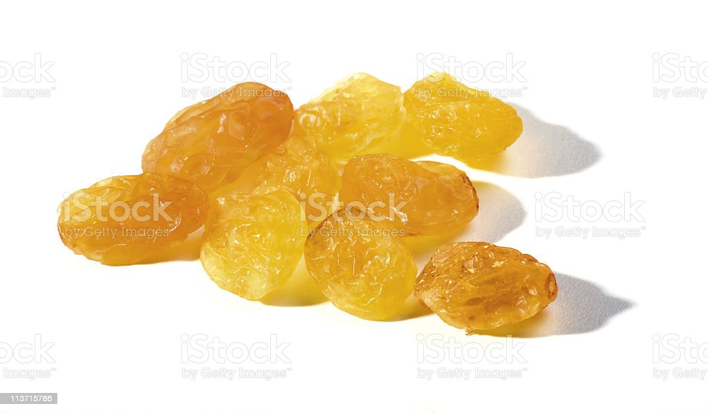 Healthy raisins isolated on white stock photo