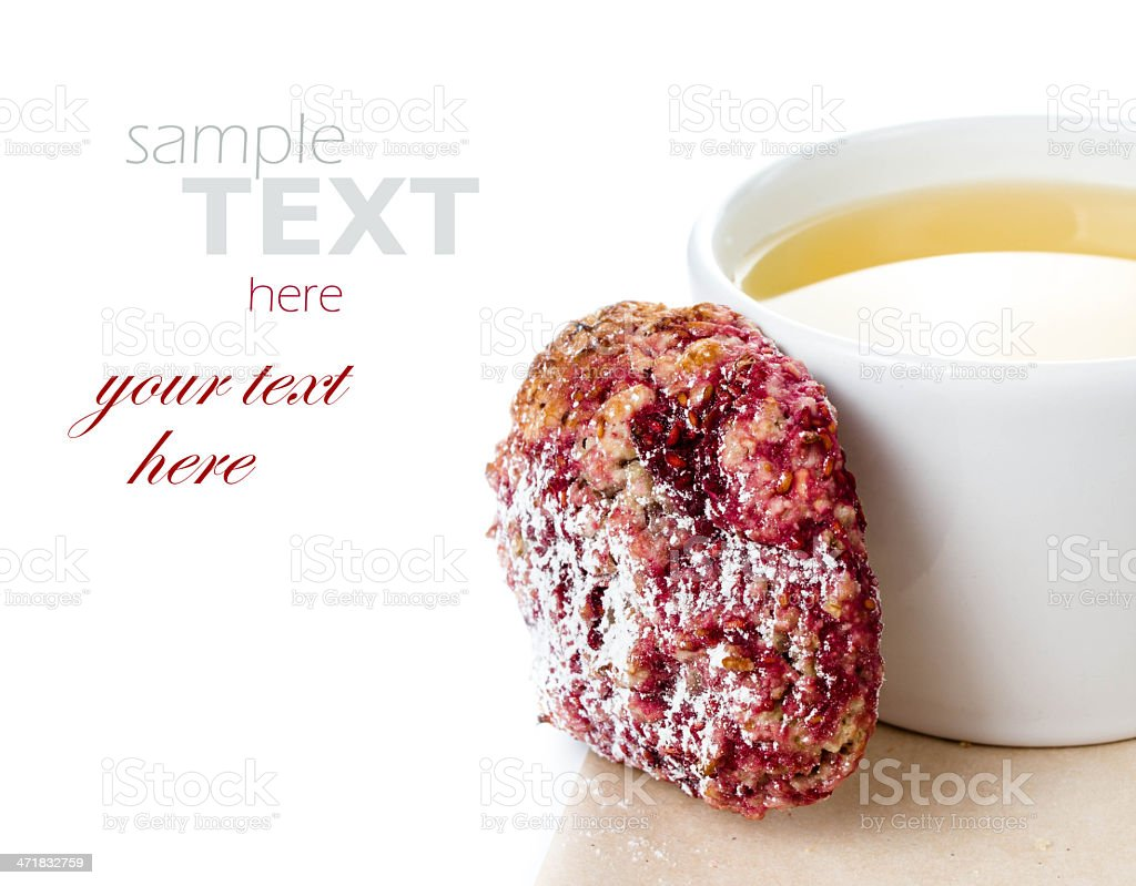 Healthy raspberries cookie with oatmeal and cup royalty-free stock photo