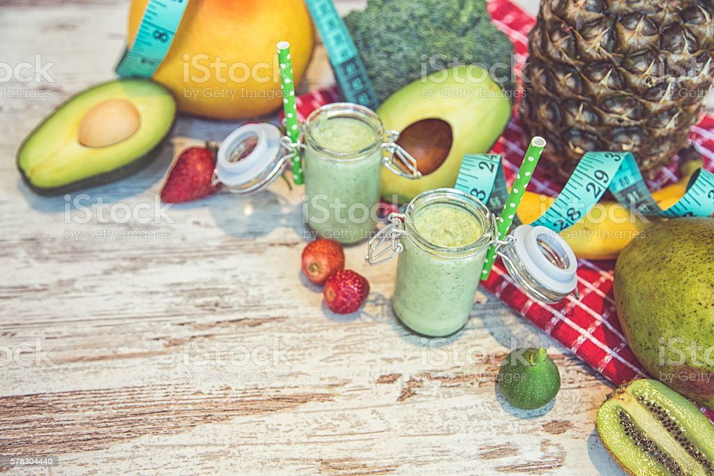 Healthy raw fresh drink with ingredients stock photo