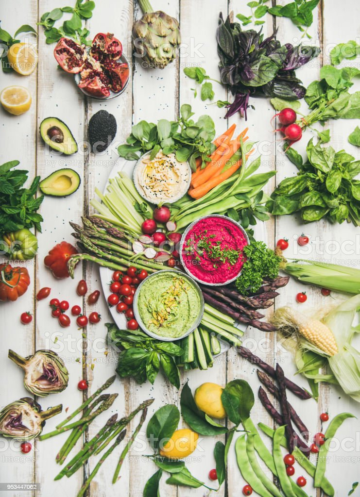 Healthy raw summer vegan snack plate stock photo
