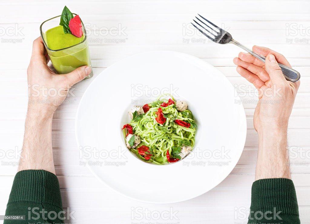 Healthy Raw vegan dinner in restaurant stock photo