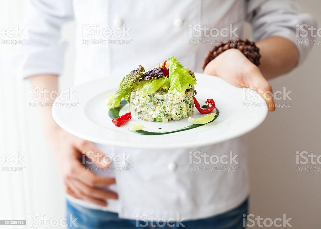 Healthy Raw vegan salad in restaurant stock photo