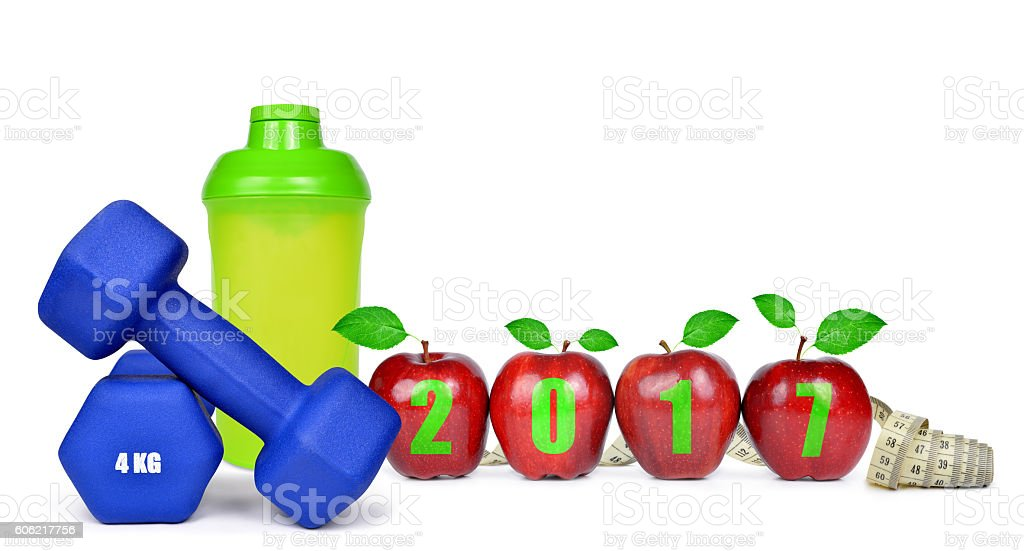 Healthy resolutions for the New Year 2017 stock photo