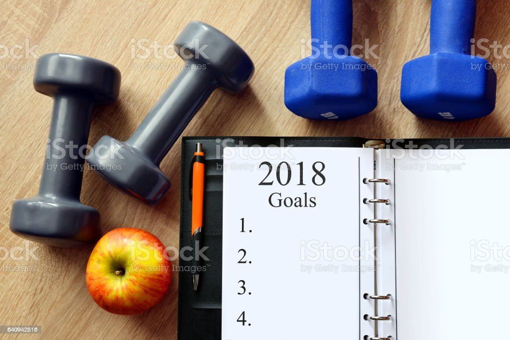 Healthy resolutions for the New Year 2018. stock photo