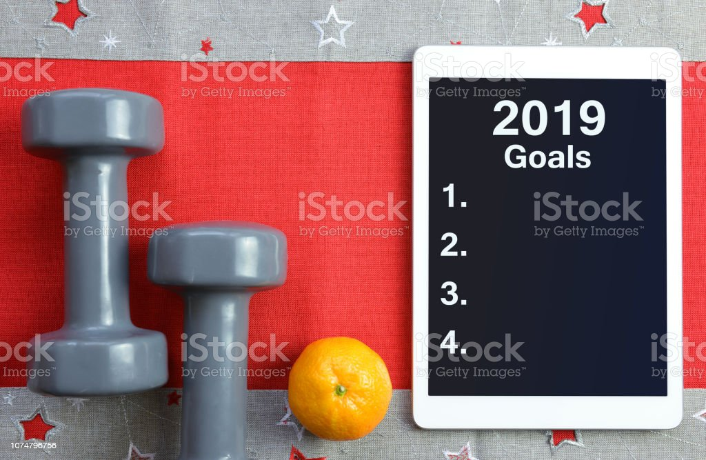 Healthy resolutions for the New Year 2019. royalty-free stock photo