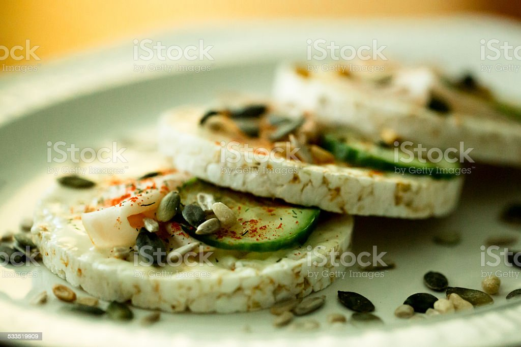 Healthy rice crackers stock photo