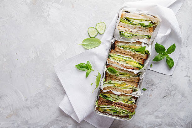 Healthy rye and wholemeal sandwich with vegetables stock photo
