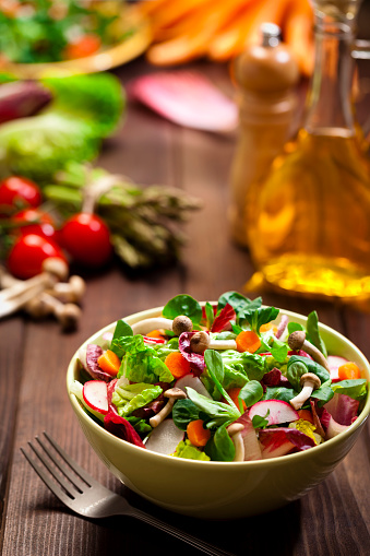 Healthy Salad Bowl On Rustic Wood Table Stock Photo ...