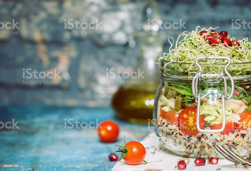 Healthy Salad in a glass jar stock photo