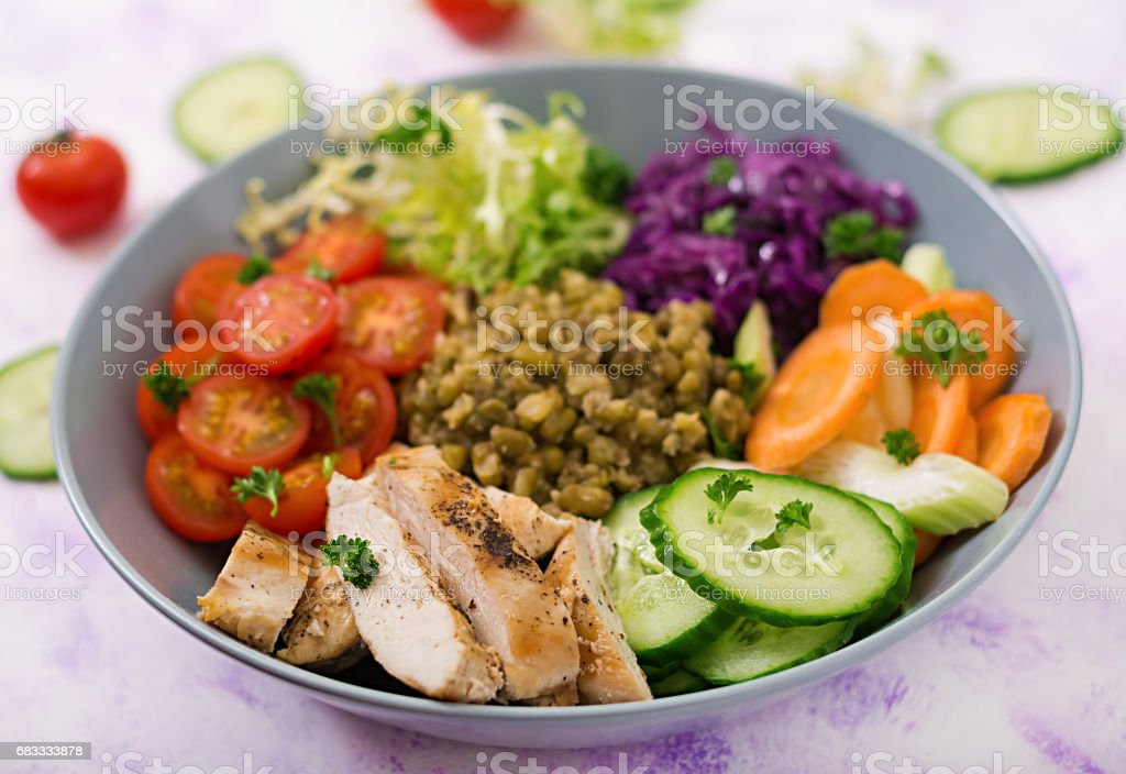 Healthy salad with chicken, tomatoes,  cucumber, lettuce, carrot, celery, red cabbage and  mung bean on light  background. Proper nutrition. Dietary menu. photo libre de droits