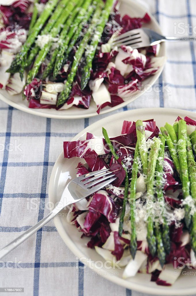 Healthy salad with chicory radicchio and asparagus royalty-free stock photo