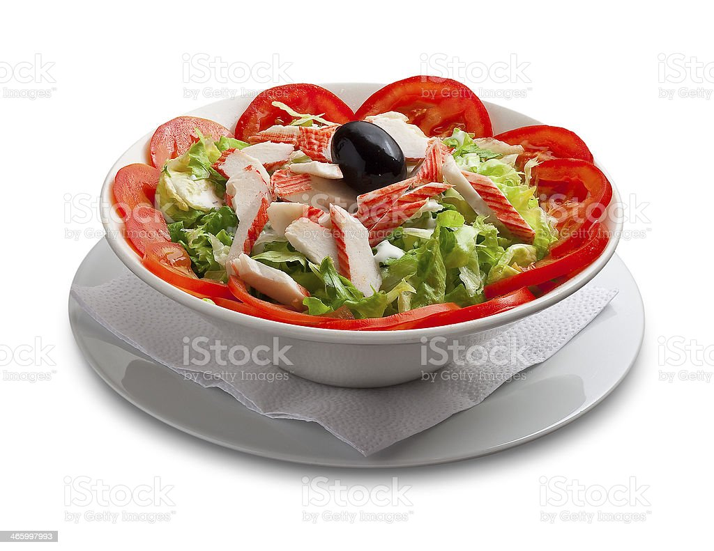 Healthy salad with crabmeat and vegetables stock photo