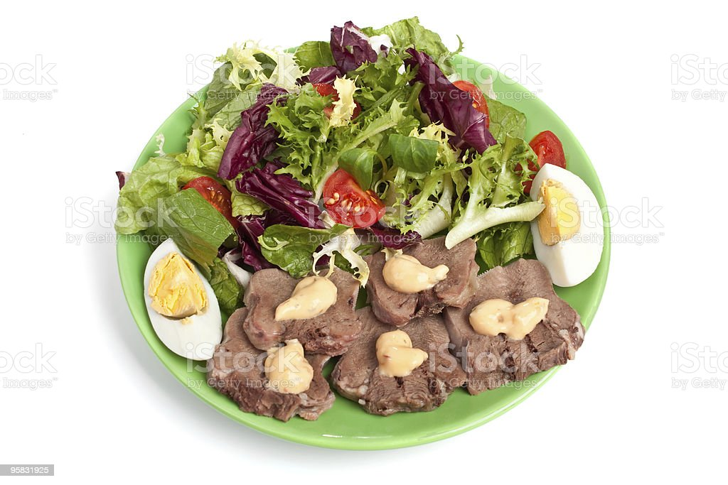 healthy salad with meat and eggs royalty-free stock photo