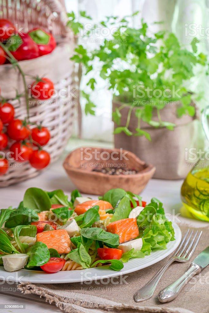 Healthy salad with salmon stock photo