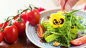 Healthy Salad with Wild Herbs and Edible Flowers