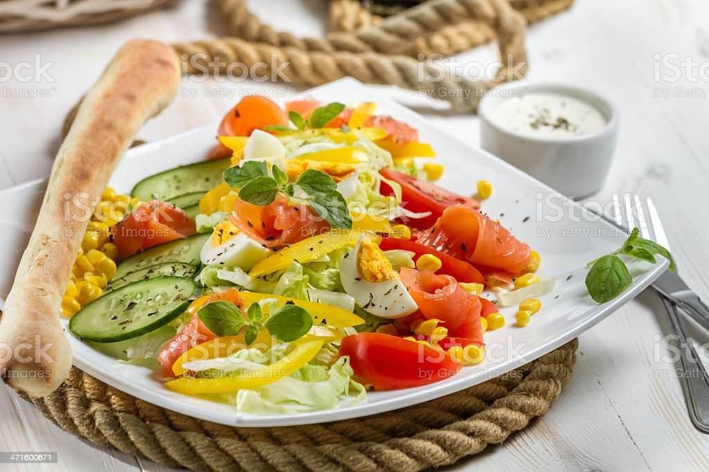 Healthy salmon and fresh vegetables royalty-free stock photo