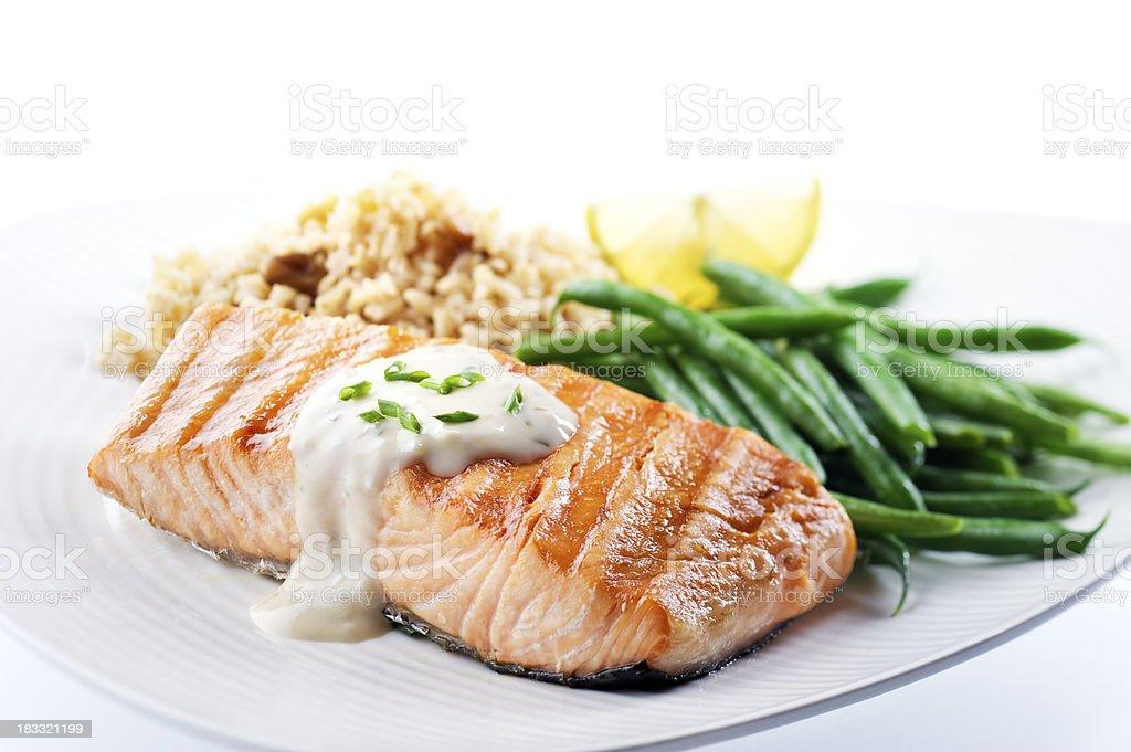 Healthy Salmon Dinner stock photo