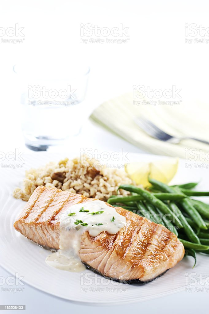 Healthy Salmon Dinner royalty-free stock photo