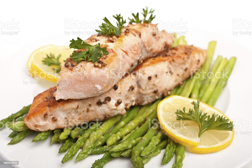 healthy salmon with asparagus royalty-free stock photo