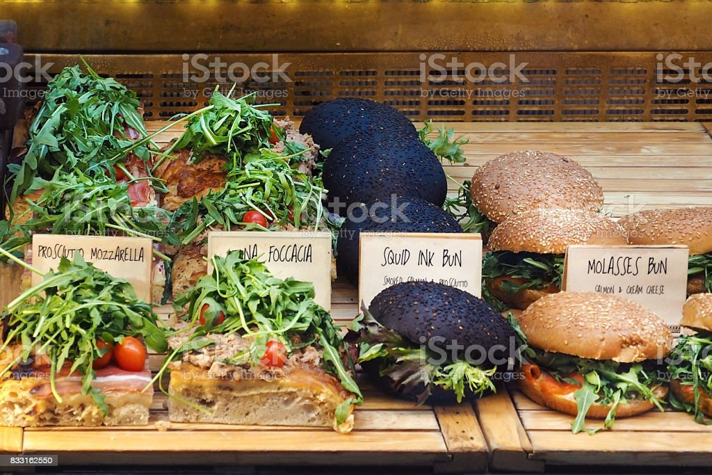 Healthy Sandwich, Burger display in bakery shop stock photo