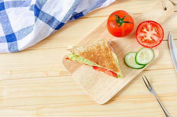 Healthy Sandwich on wooden board stock photo