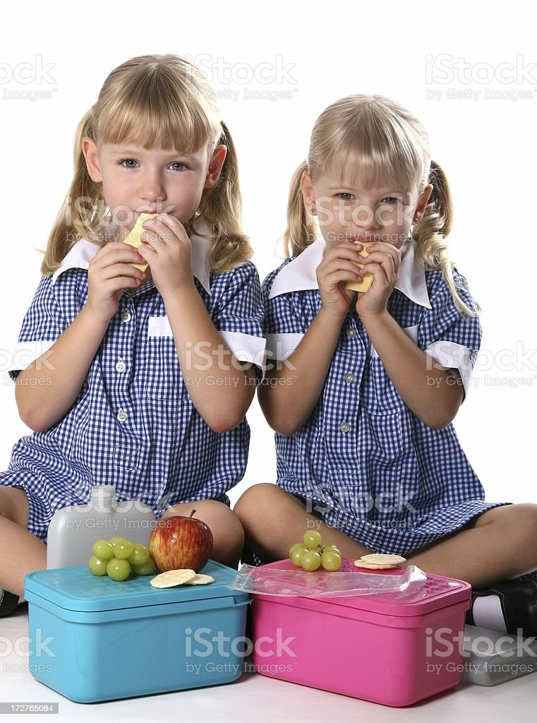 Healthy School Girls eating lunch royalty-free stock photo