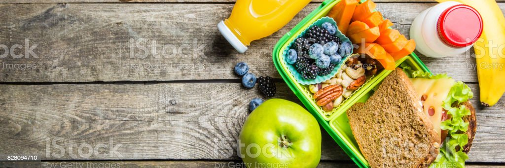 Healthy school lunch box stock photo