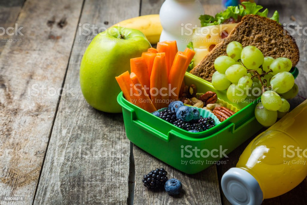 Healthy school lunch box stock photo