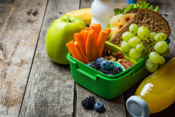 healthy school lunch box - healthy kids stock photos and pictures