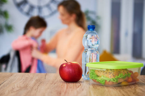Healthy school lunch box with sandwich and fresh vegetables stock photo