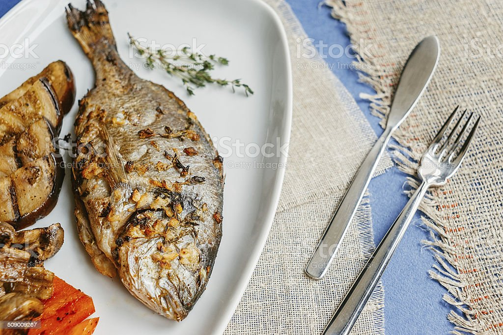 Healthy sea bass stock photo